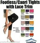 LADIES FOOTLESS TIGHT/CAPRI LEGGINGS With Lace Trim Angelina