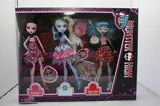 MONSTER HIGH DOT DEAD GORGEOUS DOLLS 3 PK EXCLUSIVE DRACULAURA ABBEY GHOULIA MIP