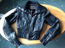 NEW LOOK black real leather jacket size 8