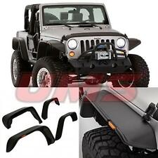 07-17 Jeep Wrangler JK Unlimited Flat Textured Style Fender Flares Front+Rear