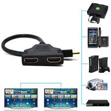 HDMI Stecker auf HDMI 2x Buchse 1 in 2 out Splitter Verteiler Adapter Kabel 30cm