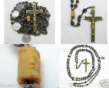 † SCARCE c1700s ANTIQUE 15 DECADE 4 NAIL CRUCIFIX GENUINE BOVINE MORI ROSARY  †