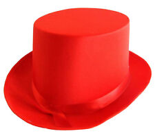RED SATIN TOP HAT WITH RIBBON FANCY DRESS PARTY