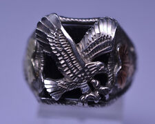 MENS STERLING SILVER ONYX RING W/ EAGLE & 12K YELLOW & ROSE GOLD LEAVES SIZE 11