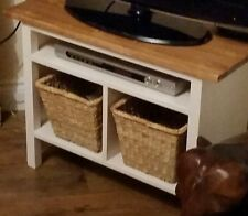 BESPOKE H55 W75 D30 TV entertainment unit stand table cream warm oak top