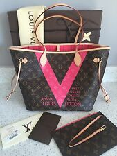 Louis Vuitton Handbag M41602 Neverfull MM Monogram V Pink w/ receipt * SOLDOUT *