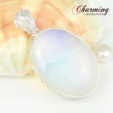 Huge ! Rare Handmade Oval Rainbow Moonstone Gems Silver Necklace Pendant