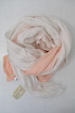 Faliero sarti foulard soie FRANGES MOD. ginè blanc abricot Nude 140 x 195cm