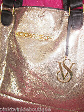 Victoria's Secret Gold Fantasy Glitter Handbag Purse Large Tote Bag NO CHARM
