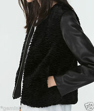 ZARA SIZE L 40 42 LEDER JACKE FELLJACKE FAUX FUR JACKET FAUX LEATHER SLEEVES