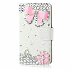 Bling Crystal Diamonds Bow PU leather flip slots stand wallet cover case skin C5