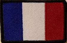 FRANCE Flag Iron-On Patch Tactical Morale Emblem Black Border