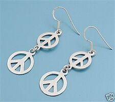 USA Seller Two Circle Peace Sign Earrings Sterling Silver 925 Hook Jewelry Gift