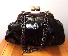 Jane Shilton Black Patent Leather Kiss Lock Frame Chain Strap Tote Handbag