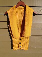 Handknit Mustard Yellow Gold Shawl Collar Corset Vest Size Small NEW NWT Med ?