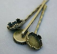 Antique Bronze Hairgrip Hair slide with base  - 10 pcs