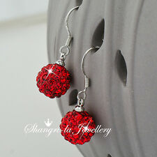 925 Sterling SILVER RED MAGIC BALL Dangle EARRINGS SWAROVSKI CRYSTAL EFX007 XMAS