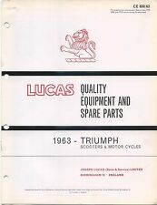 Triumph Motorcycles & Scooters 1963 original Lucas Spare Parts List No. CE830/63