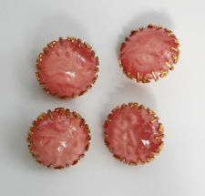 VINTAGE LARGE GLASS BUTTONS PINK WAVE MOON STONE MOONSTONE in BRASS SETTING 20mm