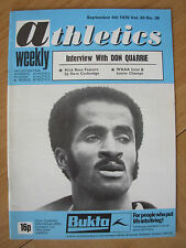 ATHLETICS WEEKLY SEPTEMBER 4th 1976 DON QUARRIE OLYMPIC SPRINTER