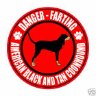 "FARTING AMERICAN BLACK AND TAN COONHOUND 5"" STICKER"