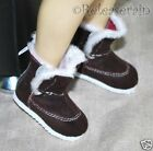 Dollfie SD Girl Shoes Velvet Fur Velcro Boots Chocolate