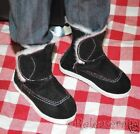 Dollfie SD13 Boy Shoes Velvet Fur Velcro Boots Black