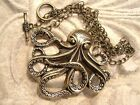Antiqued BRASS OCTOPUS Chain NECKLACE with Flower Toggle Clasp.