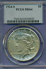 High quality 1924-S Peace Dollar graded MS64 by PCGS