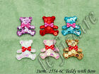 Padded Satin Sequined Teddy Bear Bow Ties Appliques 6C
