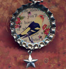 Sweet Bird vintage Bottle cap necklace pendant tartx