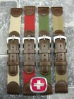 20mm Leather Nylon Strap Watch Band Brown Green Beige 20 mm WENGER SWISS ARMY