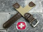New Wenger Swiss Leather Nylon Strap Watch Band Brown Army 20mm 19mm 18mm Beige