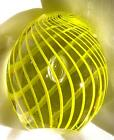 PAPERWEIGHT Huge Yellow & Clear Glass CAPTURED BUBBLE