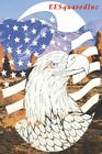 New White Oval 21x33 FLAG & EAGLE WINDOW DECAL Military Patriotic Door Decor