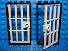 LEGOS - Set of 2 NEW Light Blusih Gray Barred Door and Black Frame 1 x 4 x 6
