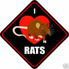 "I LOVE (HEART) RATS 4"" RAT STICKER"