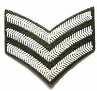 SERGEANT STRIPES CLOTH BADGE olive military embroidered sew on patch army jacket