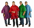HOODED RAIN PONCHO - Button Sides - One Size