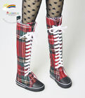 SD Dollfie Shoes Thigh-Hi Sneakers Boots Red Plaid