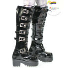 SD13 Boy Dollfie Shoes Buckles Lace-Up Boots Pt Black