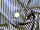 "GOLD & BLUE STRIPE SATIN 44"" FABRIC CLOTHING DRESS CRAF SKIRTS"