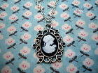 FUNKY BLACK WHITE CAMEO NECKLACE CUTE KITSCH VICTORIAN VINTAGE STYLE RETRO CHARM