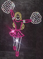 CHEERLEADER GIRL STAND  iron-on CRYSTAL TSHIRT TRANSFER