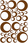 32 BROWN CIRCLE IN CIRCLE BUBBLE LOOKING BEDROOM WALL DECAL STICKER Oracal