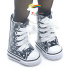 """Knee-Hi Sneakers Boots Shoes Patent Black/W Dots for Yo-SD Dollfie/12"""" Kish doll"""
