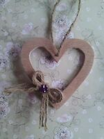 1 Wooden Heart Decoration,Wall Door Hanging Wedding Christmas Valentines Rustic