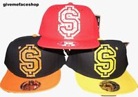 DOLLAR SNAPBACK CAP, FLAT PEAK HATS, FITTED BASEBALL BLING HIP HOP, 14 COLOURS
