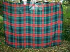 Vtg 1960s Bold Green & Red TARTAN PLAID CHRISTMAS WINTER TABLECLOTH Acrylic Knit