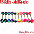W062 Acrylic Tongue Rings Bar Barbell Cannabis Marijuana Weed Pot Leaf 10 colors